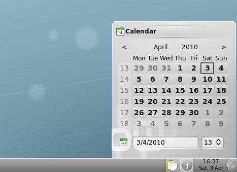 La vista calendario sulla barra