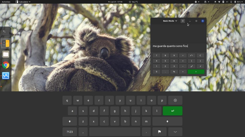 Supporto GNOME alla modalità Touch - Tastiera virtual GNOME landscape
